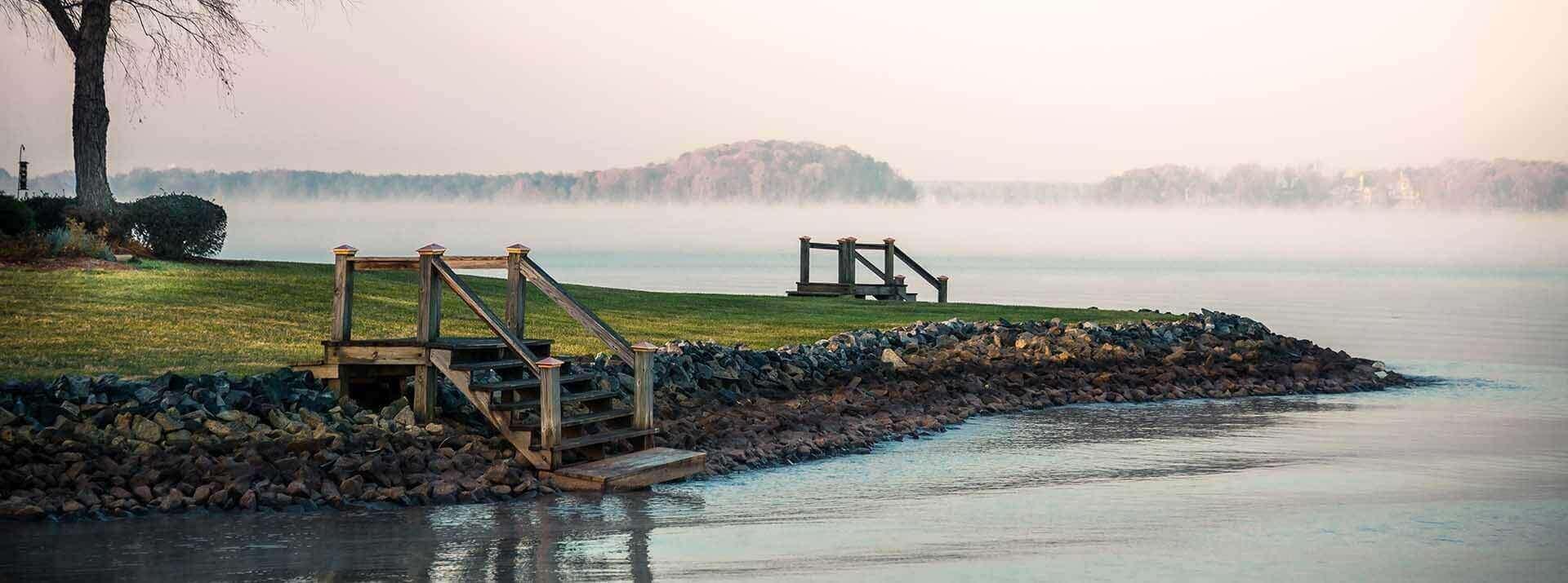 Fog over Lake Norman, North Carolina at sunrise.
